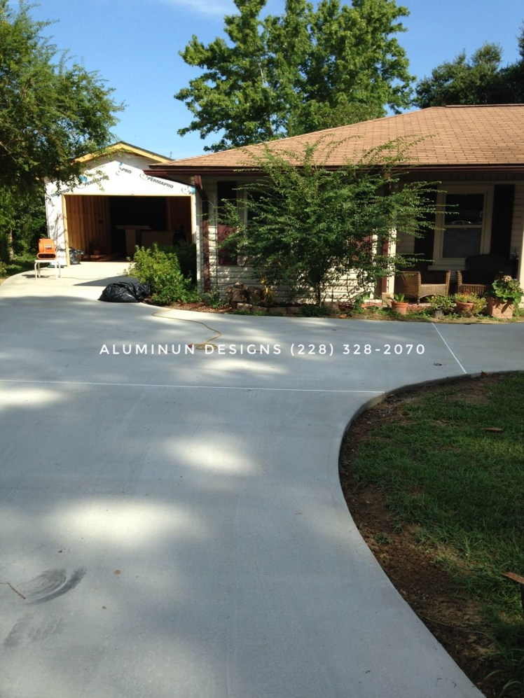 concrete patio and driveway