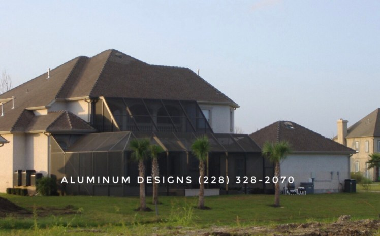 Aluminum Designs of Saucier, MS., built this two-story swimming pool enclosure on 9-22-2006.