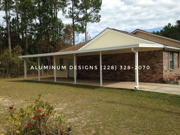 aluminum long carport white frame pan roof system