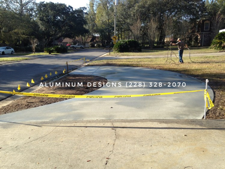 curved concrete driveway addition