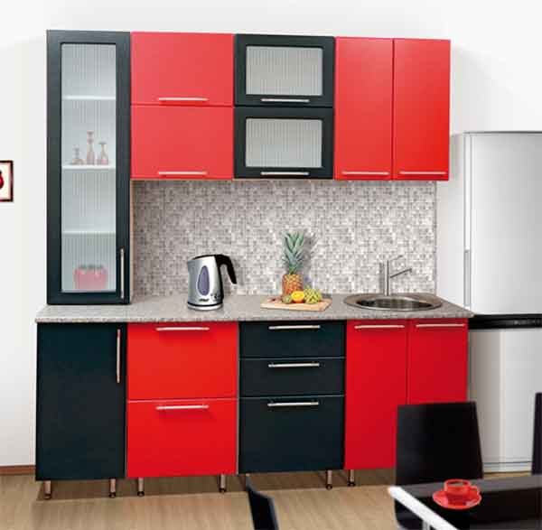 مطبخ صغير 2 متر احمر فى اسود بحوض مفتوح داخل الرخام الجرانيت