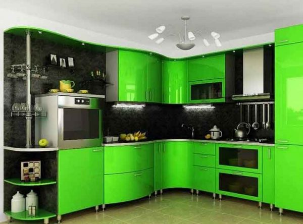 خزائن مطبخ اخضر فى اسود