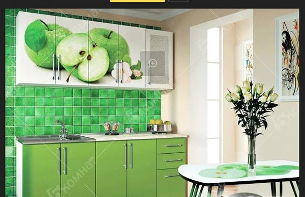 مطبخ التفاح الاخضر بالون الزيتوني برسم تفاح علي درف المطبخ باجمل الوان المطابخ المغربية