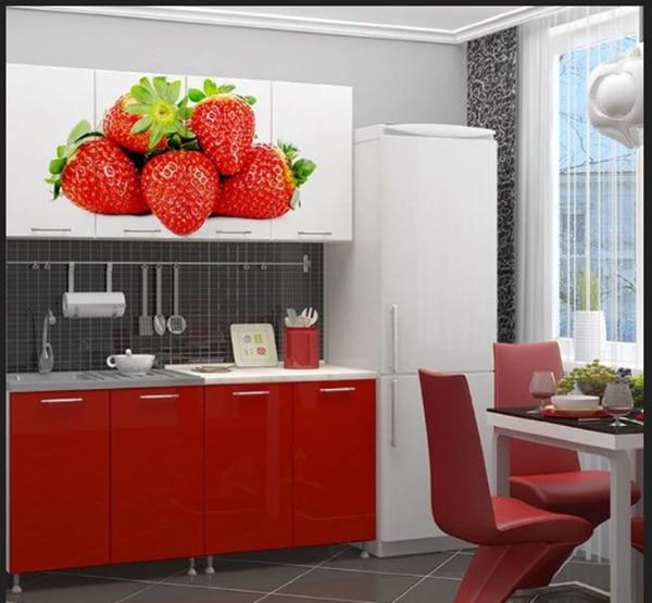 مطبخ الفرولة بالون الاحمر مع الابيض في المطابخ الحديثة 2019