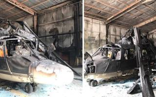احتراق طائرة هليكوبتر بقاعدة عبد الله المبارك