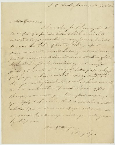 Letter written in 1836 by Mary Lyon