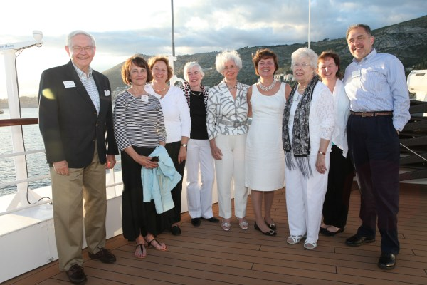 Pictured left to right: Harold Buckingham, Susan Ervin '68, Laura Harris '78, Martha Williams '57, Patricia Scott '53, Lynn Pasquerella '80, Joyce Buckingham '54, Alicia Harshfield '85, Andrew Peterson