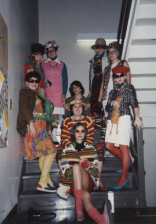 Students dressed in their finest on the stairs of Torrey Hall, 1985.