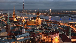 Riga, Latvia, at night, as seen from above