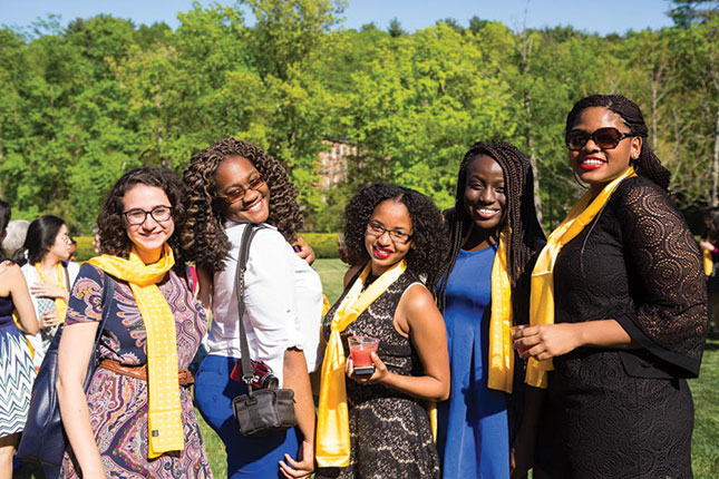 Seniors wear their scarves after the 2015 Welcome New Alumnae Ceremony