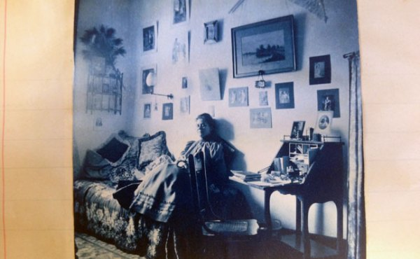 A student in her dorm room