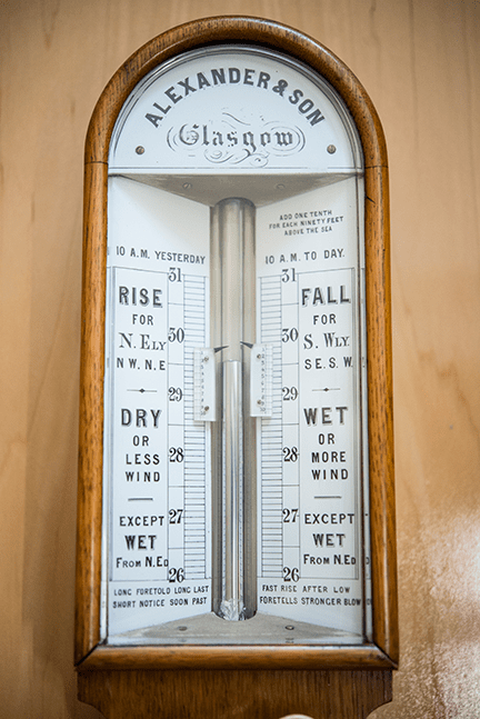 """Stick Barometer Ca. 1860, mahogany case with brass and ivory fittings, Scottish Alexander and Son, Glasgow. The inscription on the lower edge of the scale refers to weather forecasting and the use of the barometer: """"Long Foretold Long Past Short Notice Soon Past"""""""