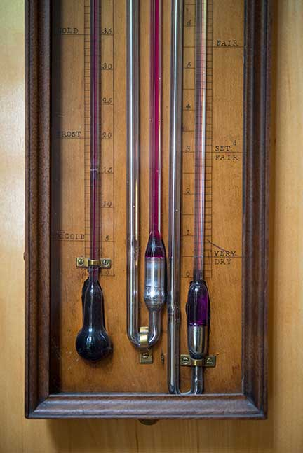 Multi-tube Barometer and Spirit Thermometer (detail) Ca. 1790, rounded mahogany and fruitwood case, glazed front panel, and brass and ivory fittings, English, Torre