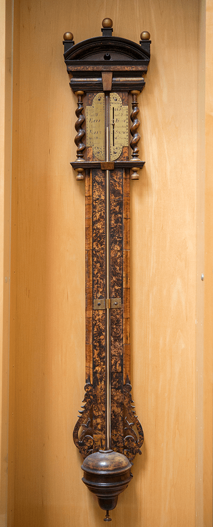 Stick Barometer Ca. 1690, walnut with veneered mulberry wood panel and brass scale and fittings, English, Thomas Heath