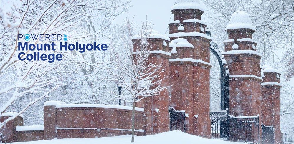 Mount Holyoke gates in snow
