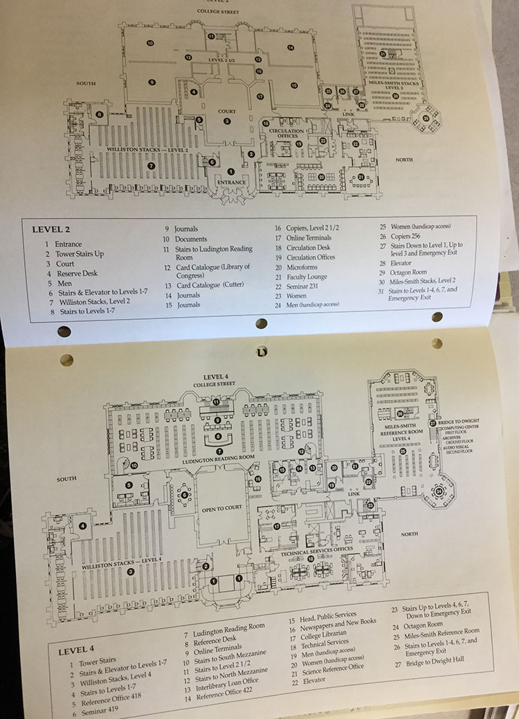 1992: Second and Fourth Floor library floor plans