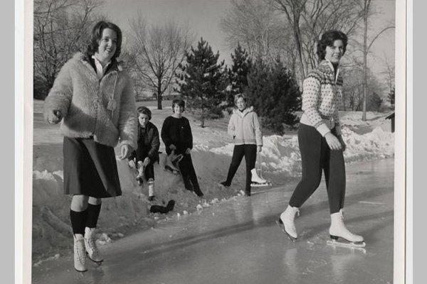 Students skate on Upper Lake, including Susan Birch '65, Elizabeth Masten ''65, Alison Harmer '64, and Joan Mead '64.