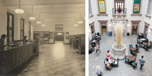 Library Atrium in the 1930s and 2018
