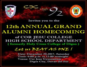 CJC HS '92 hosts 2017 High School Grand Alumni Homecoming @ CJC Gym