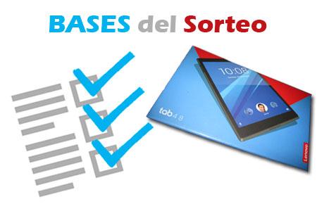 Bases para poder participar en el Sorteo de la Lenovo TAB4 8″ WIFI SLATE BLACK 2GB+16GB