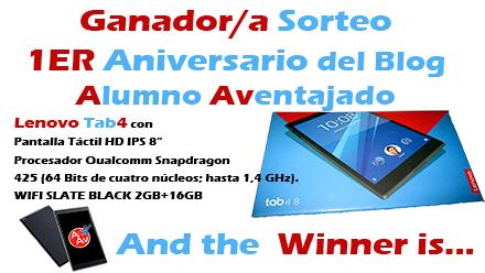 Ganador/ra del Sorteo 1er Aniversario del Blog Alumno Aventajado