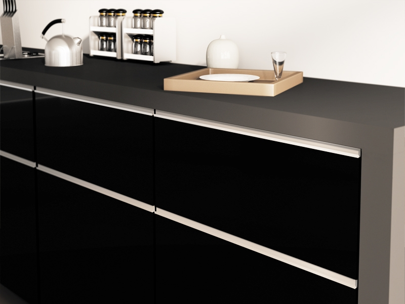 kitchen cabinet handle counter height table high gloss / matte lacquered doors « aluminum ...