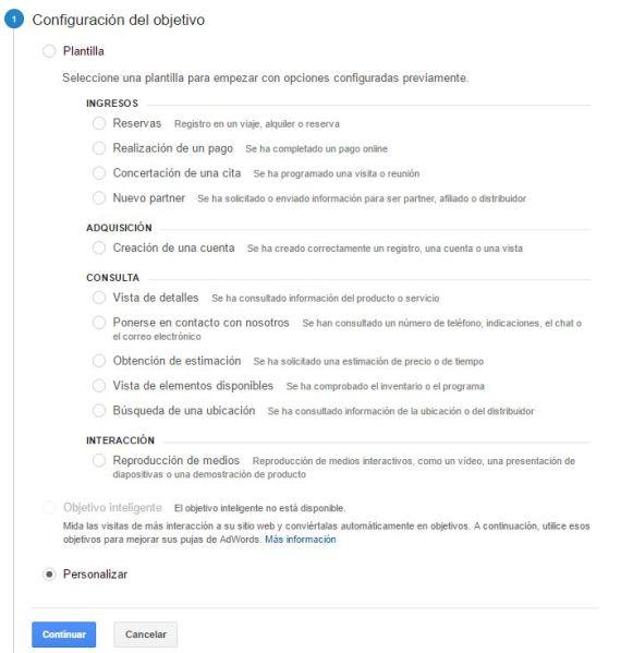 Configurar Objetivos en Google Analytics
