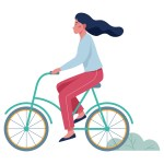 Happy young woman ride bicycle side view