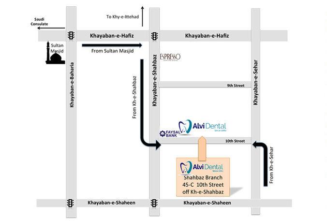 Alvi Dental Shahbaz Map