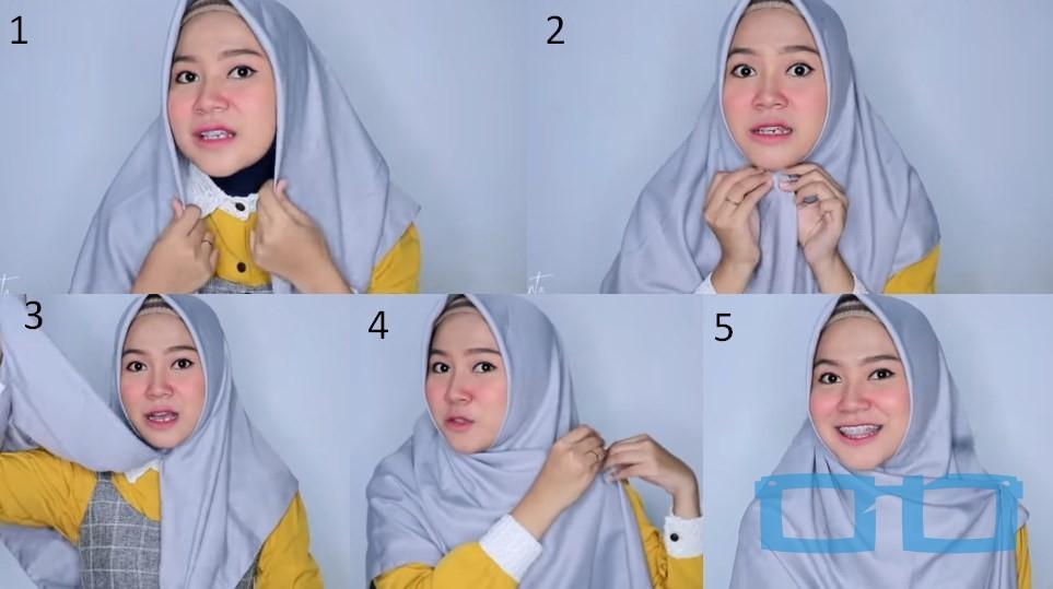 Tutorial Hijab Segi Empat Sederhana Syari untuk Wajah Bulat