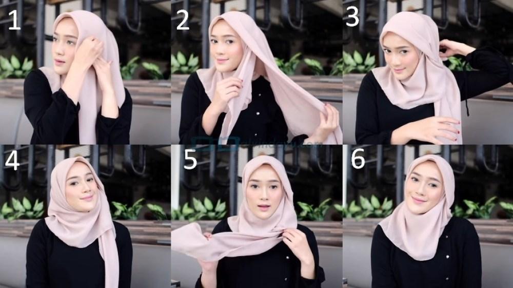 Tutorial Hijab Segi Empat Modern Simple dan Modis