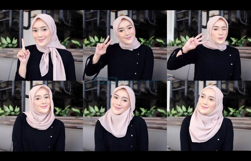 Tutorial Hijab Segi Empat Simple dan Modis Tumbnail