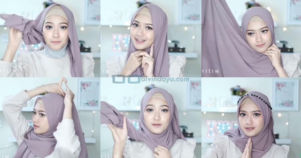 Tutorial Hijab Pesta Elegan Model Pashmina Tanpa Pentul