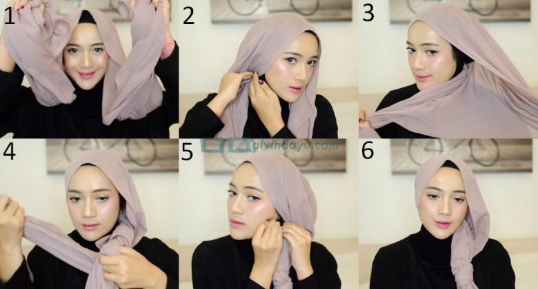 Tutorial Hijab Pashmina Pesta