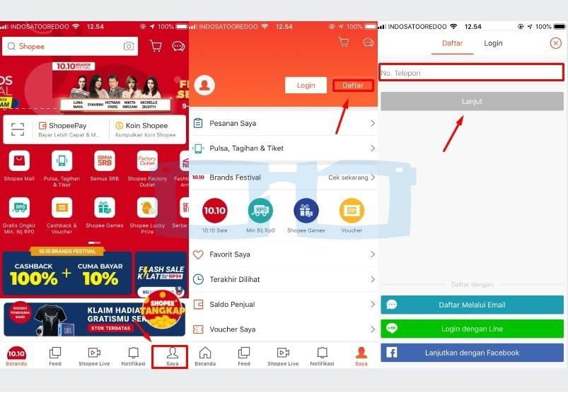 Cara Buat Akun Shopee dengan Aplikasi Shopee Melalui Nomor Telepon 1