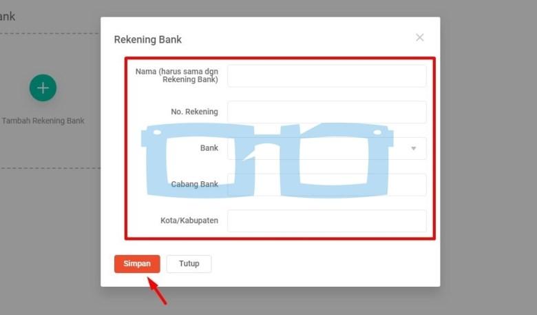 Masukkan Data Rekening Bank Shopee