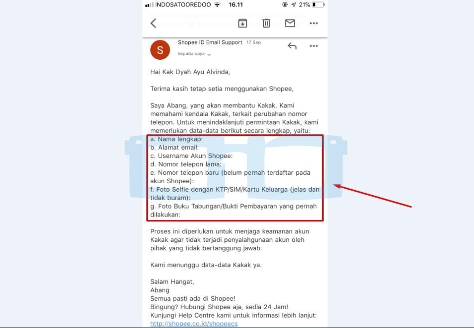 Balasan Email dari Shopee untuk Ganti Nomor Hp di Shopee