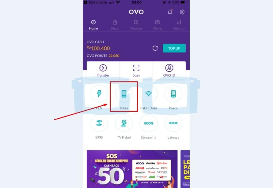 Beli Pulsa di OVO Menggunakan OVO Cash