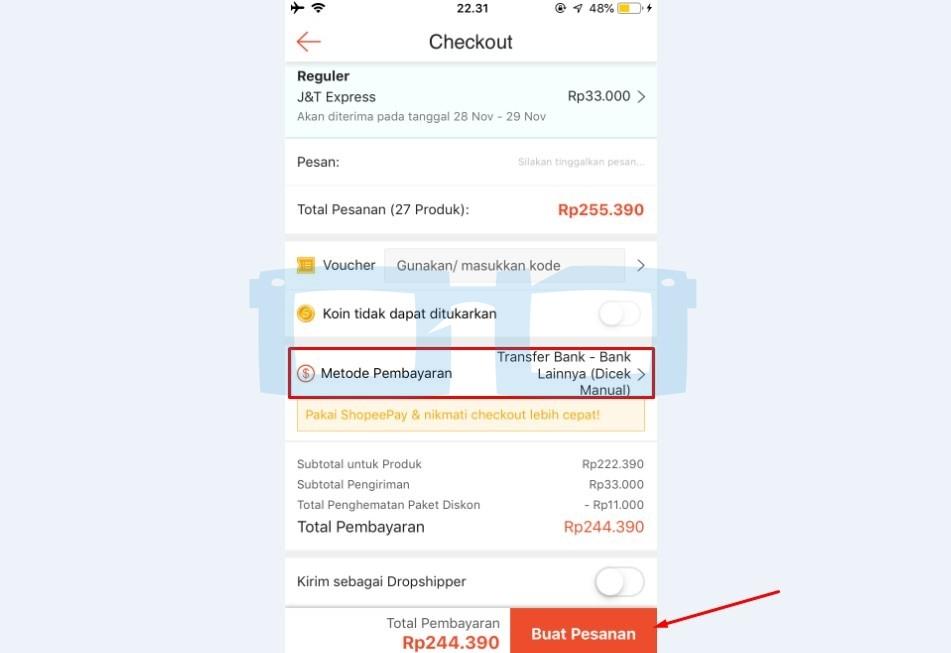 Buat Pesanan Belanja Shopee via Bank Transfer