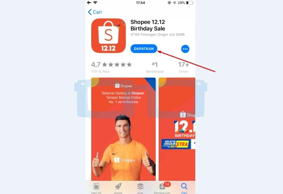 Instal Aplikasi Shopee