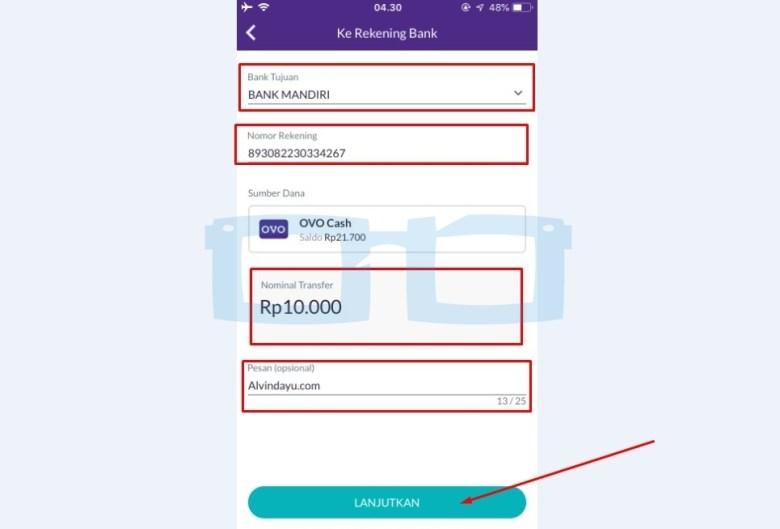 Masukkan Informasi Rekening Bank Shopeepay
