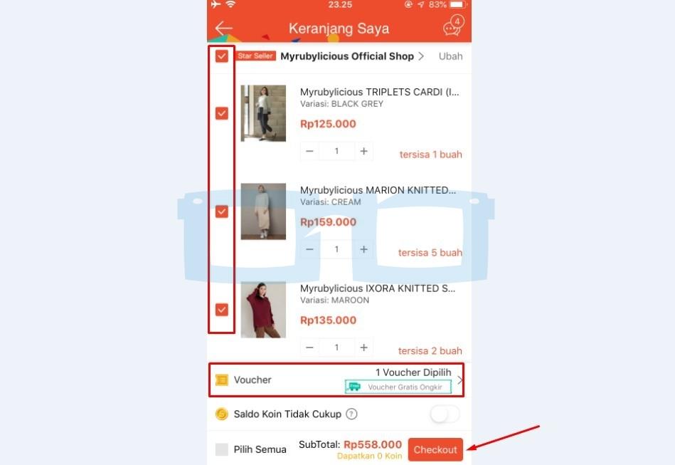 Pilih Produk Shopee yang Akan di Checkout 1