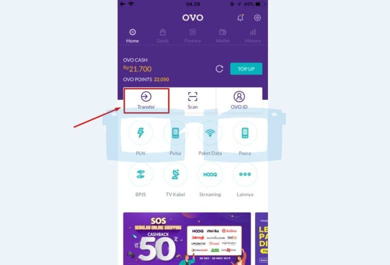 Transfer OVO ke Shopeepay