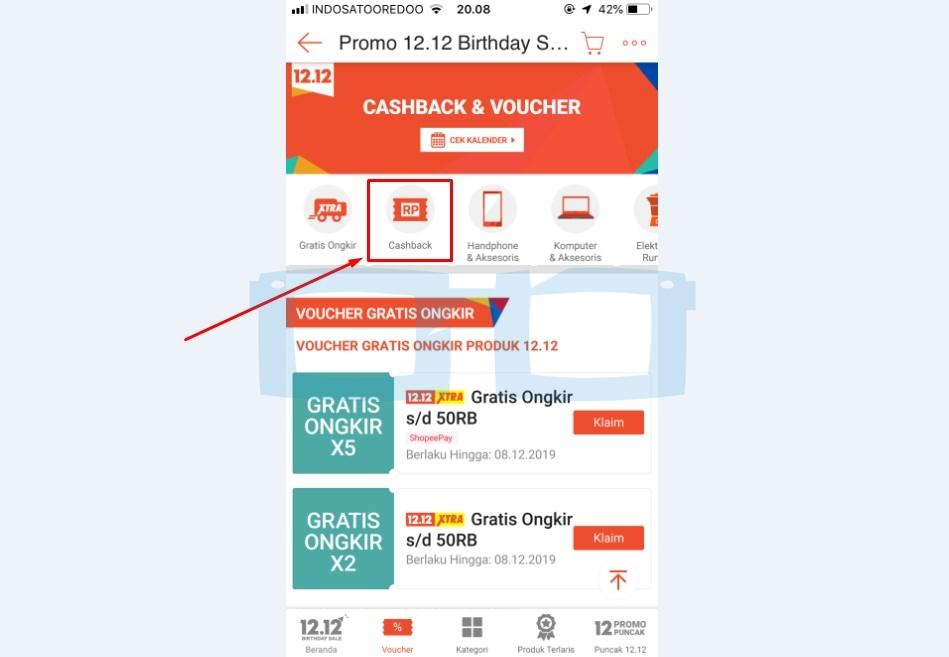 Cari dan Pilih Menu Voucher Cashback Shopee