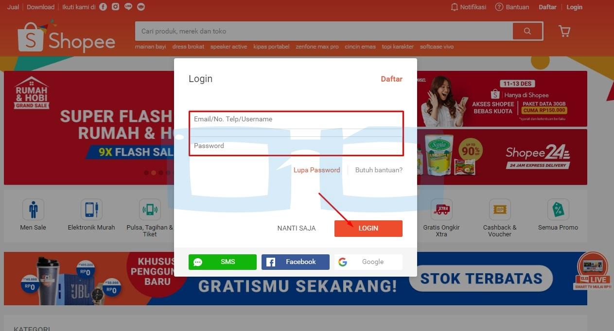 Login Shopee melalui Website