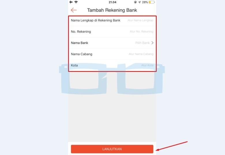 Tambahkan Data Rekening Bank Shopeepay
