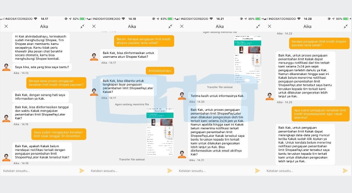 Chat dengan Shopee Tentang Lama Waktu Pengajuan Kenaikan Limit Kredit Shopee Paylater