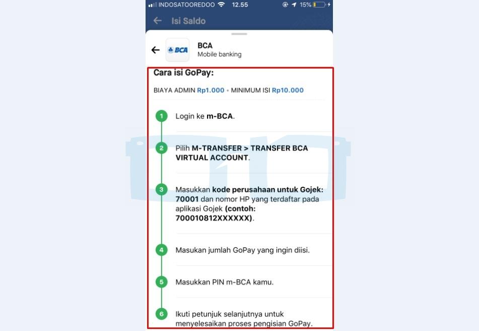 Langkah langkah Cara Top Up Gopay BCA mBanking