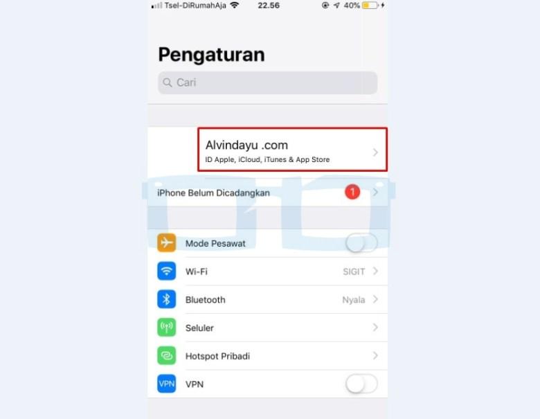 Pilih Menu Profil Iphone untuk Cek IMEI