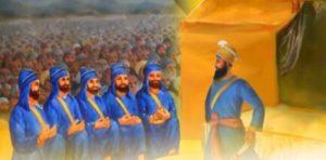 गुरु गोबिंद सिंह जी खालसा पंथ की स्थापना करते